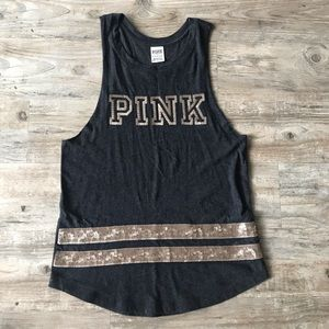 PINK | SEQUIN BLING CUT OFF MUSCLE TANK GRAY